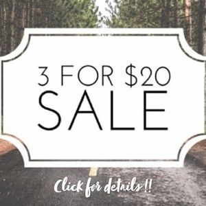 3/$20 SALE!! Hundreds of NWT items!